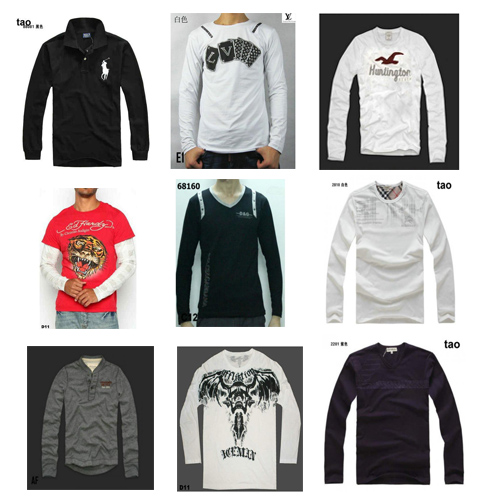 High quality famous brand men's long sleeve t-shirts such as Hollister Hugo Boss Levis LV ect