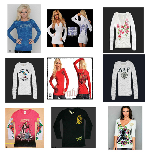 Abercrombie&Fitch Christian Audigier Ed Hardy Hollister 等名牌女长袖t恤