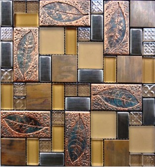 Reminiscent antique leaf pattern mosaic tile