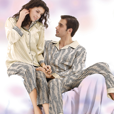 lover sleepwear set autumn and winter silk sleepwear female lovers sleep set  long-sleeve male pajamas lounge plus size 87d15d344