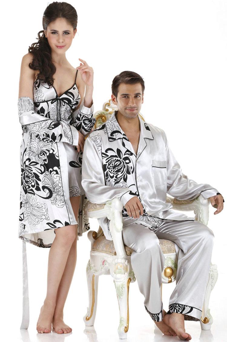 Sexy silk men nightshirt pajamas