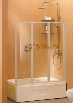 - door linked folding tempered glass bathtub screen