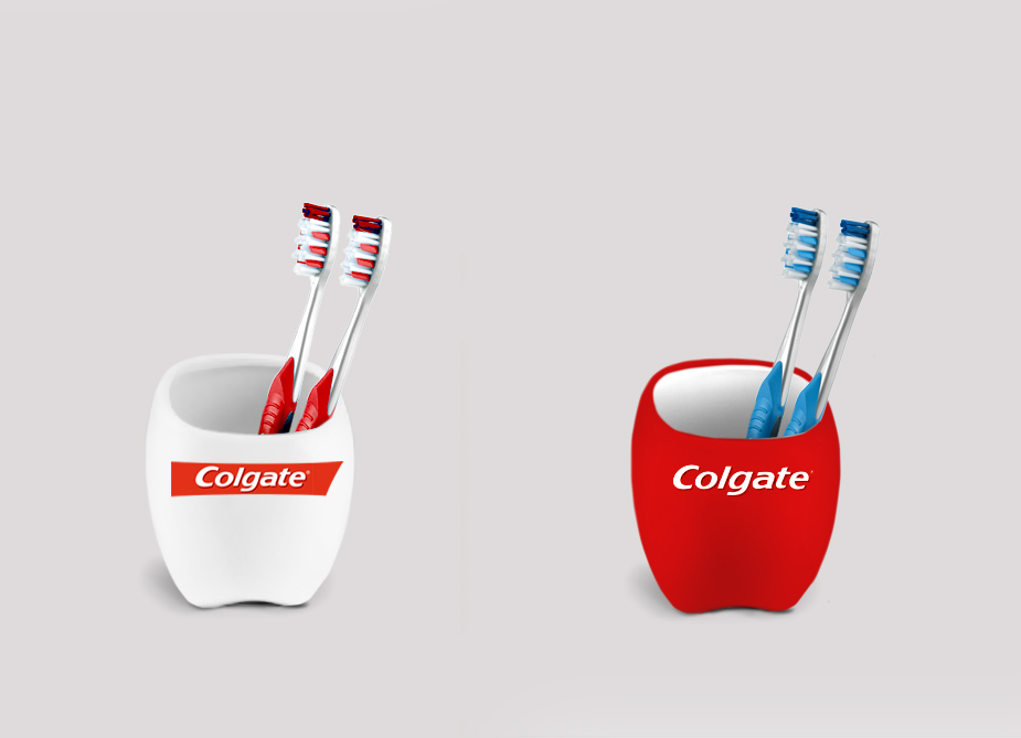 Tooth shaped cup Colgate