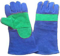 Blue Split Cowhide Leather Welding Gloves
