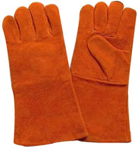 14 Golden Split Cowhide Leather Welding Gloves