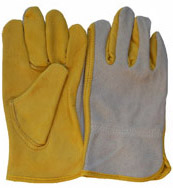 10Yellow Grain Cowhide Leather Driver Gloves