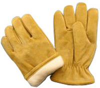 10Full Fleece Lining Pigskin Leather Winter Gloves
