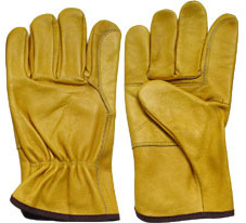 10Yellow Reinforced Palm Cowhide Leather Driver Gloves