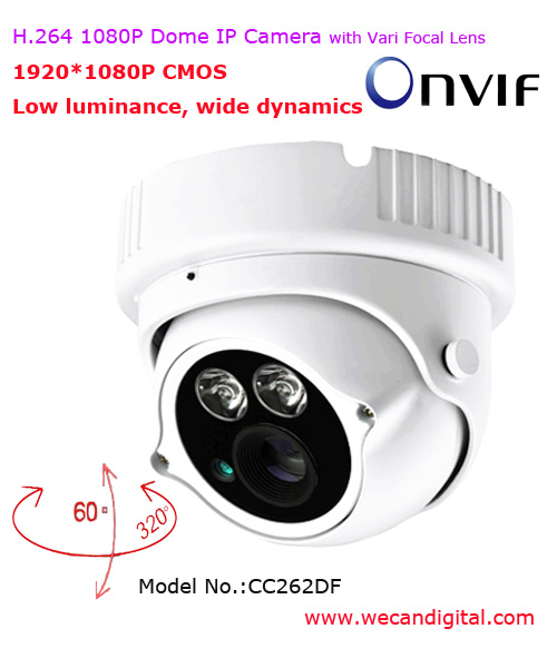 H.264 1080P Infrared Dome IP Camera with Vari Focal Lens