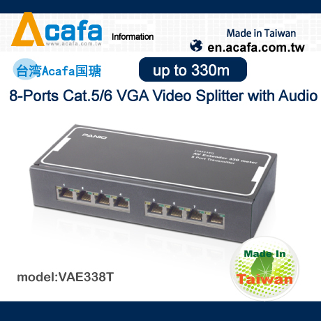 ACAFA VAE338T 8-Port Cat.5 VGA Video Splitter with Audio 330m Application Multimedia player system-TW
