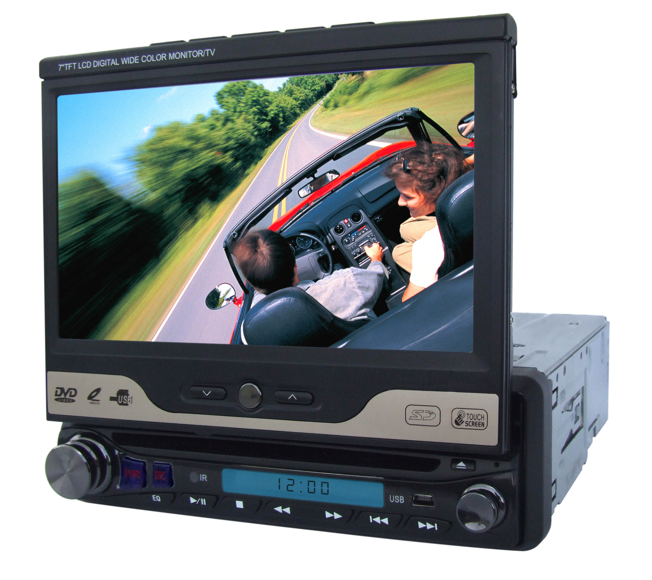 7 inch One Din in-dash Motorized TFT-LCD DVD player with BT/GPS