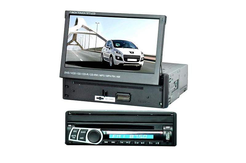 7 inch One Din In-dash Motorized TFT-LCD Monitor/TV DVD player