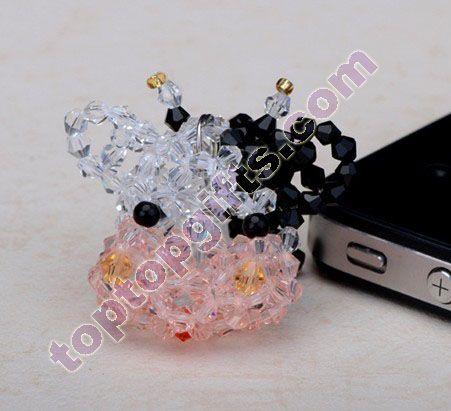 cute 3d beaded milch cow 3mm bicone crystal beads animal charm