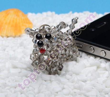 crystal 4 mm bicone 3d beaded cattle iphone4s charm