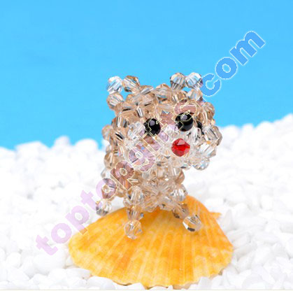 4mm bicone crystal 3d beaded lucky dog charm iphone5 ornament