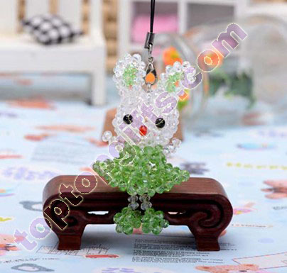 4mm rondelle crystal beaded rabbit charm animal mobile phone ornament