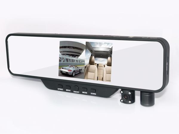3.5 inch dual lens rearview mirror dvr camera car black box with TV out