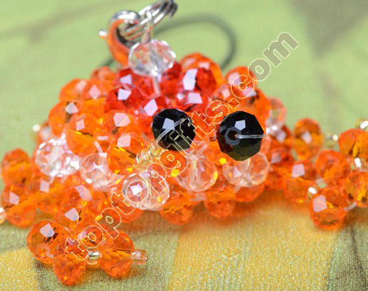 diy 3D beaded crab crystal cell phone charm