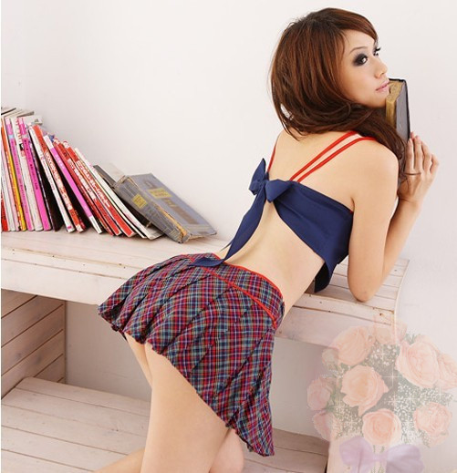 Asian sexy school girl cosplay costumes apparel stock