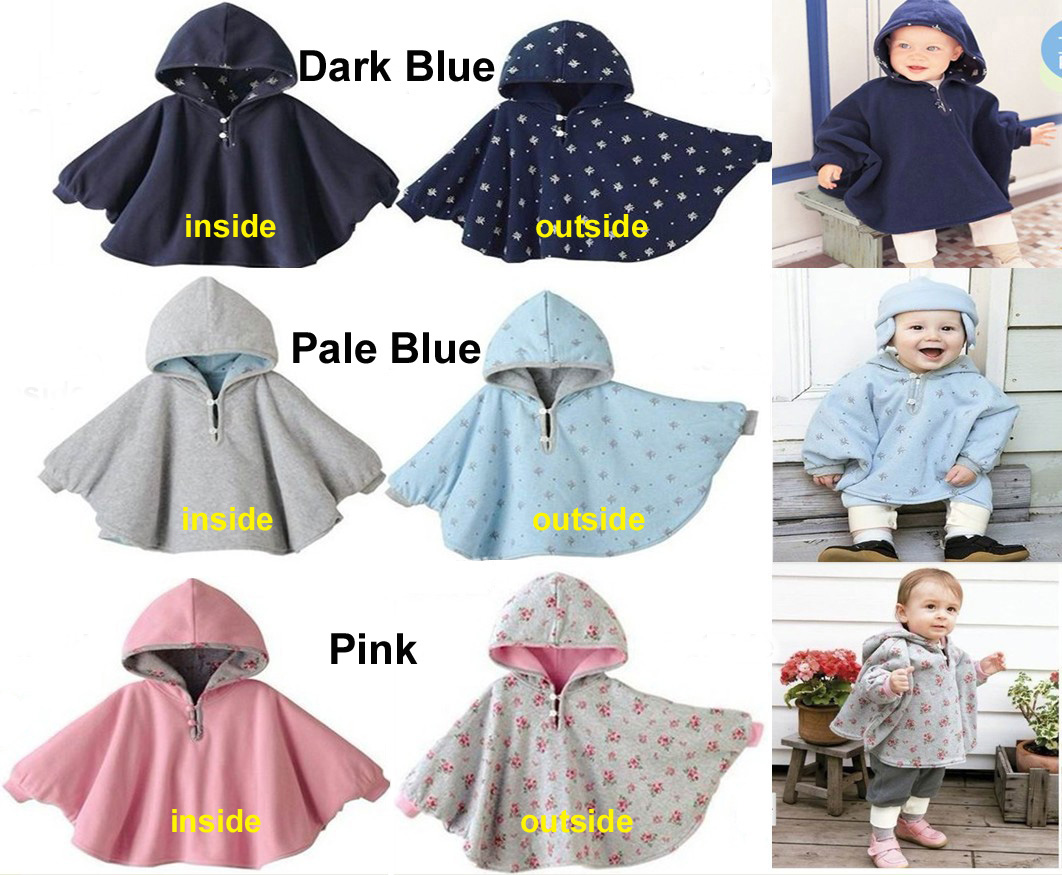 Cute Baby Kid Toddler Newborn Winter Reversible Thickening Fleece Hooded Cape Cloak Poncho Coat Hoodie Jacket Outwear Cloth