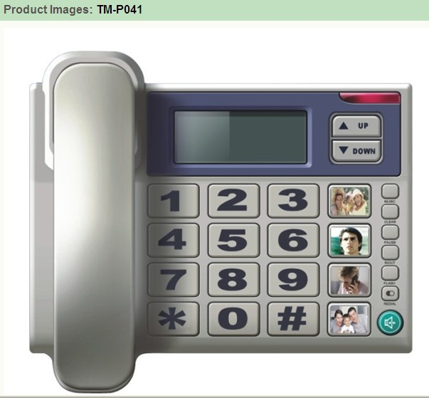 Digital outgoing  incoming memories Lcd big button phone TM-P041