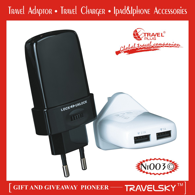 2013 BEST SALES Innovative Gift-Travel Universal Adapters with Dual USB Ports for Worldwide Use(TC-001)