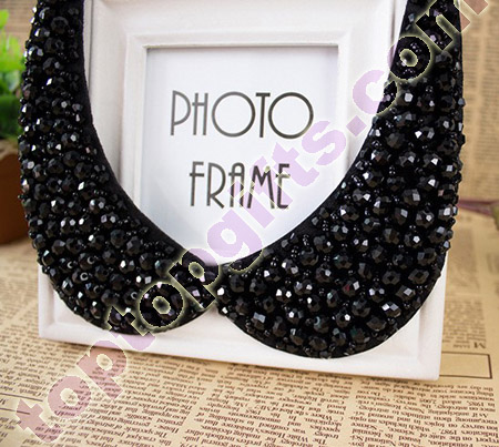 round rhinestone beaded collar fashion trimming