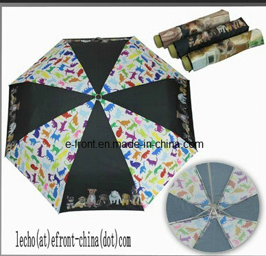 Superlight Umbrella, 3 Folding with Dogs Design (LF-006A)
