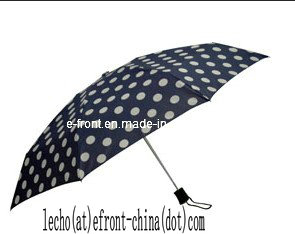4 Folding Aluminumn Auto Umbrella with Big Dots