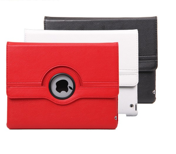 360 degree rotating PU leather case for IPAD 3