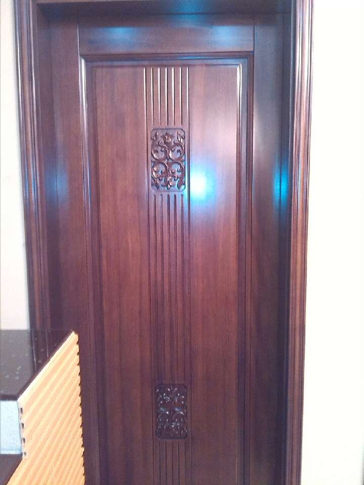 Solid wood door with pattern black walnut