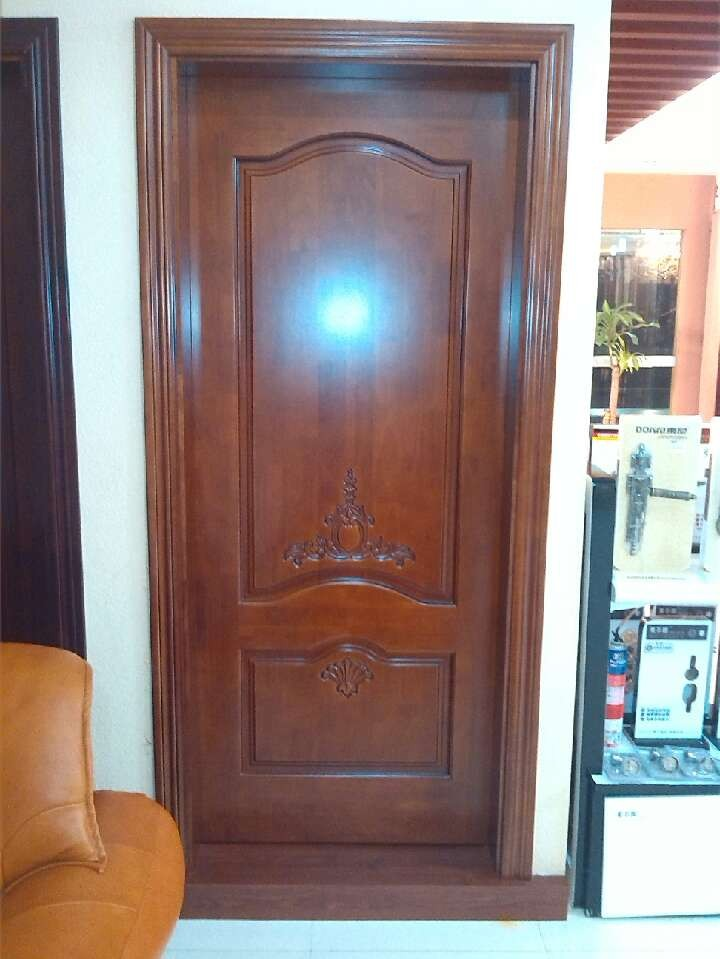 Solid wood door with pattern  fingerwood material also can be made  in professional