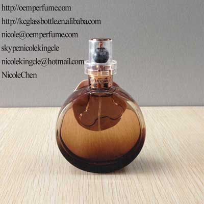 round perfume glass bottle with cap