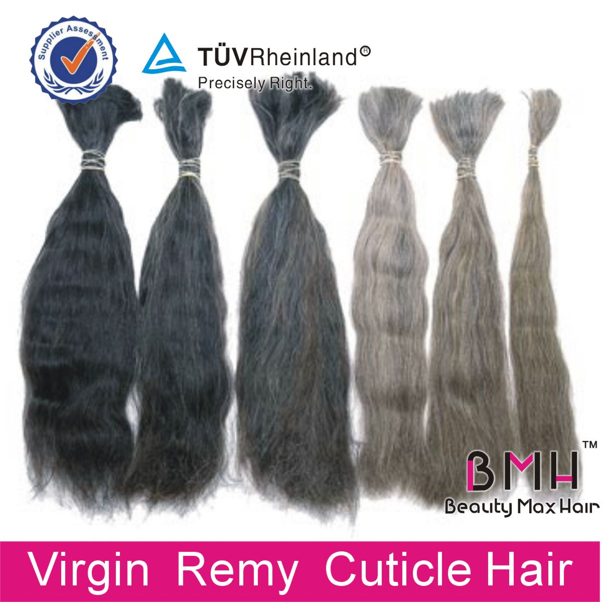 Double drawn raw human hair bulk