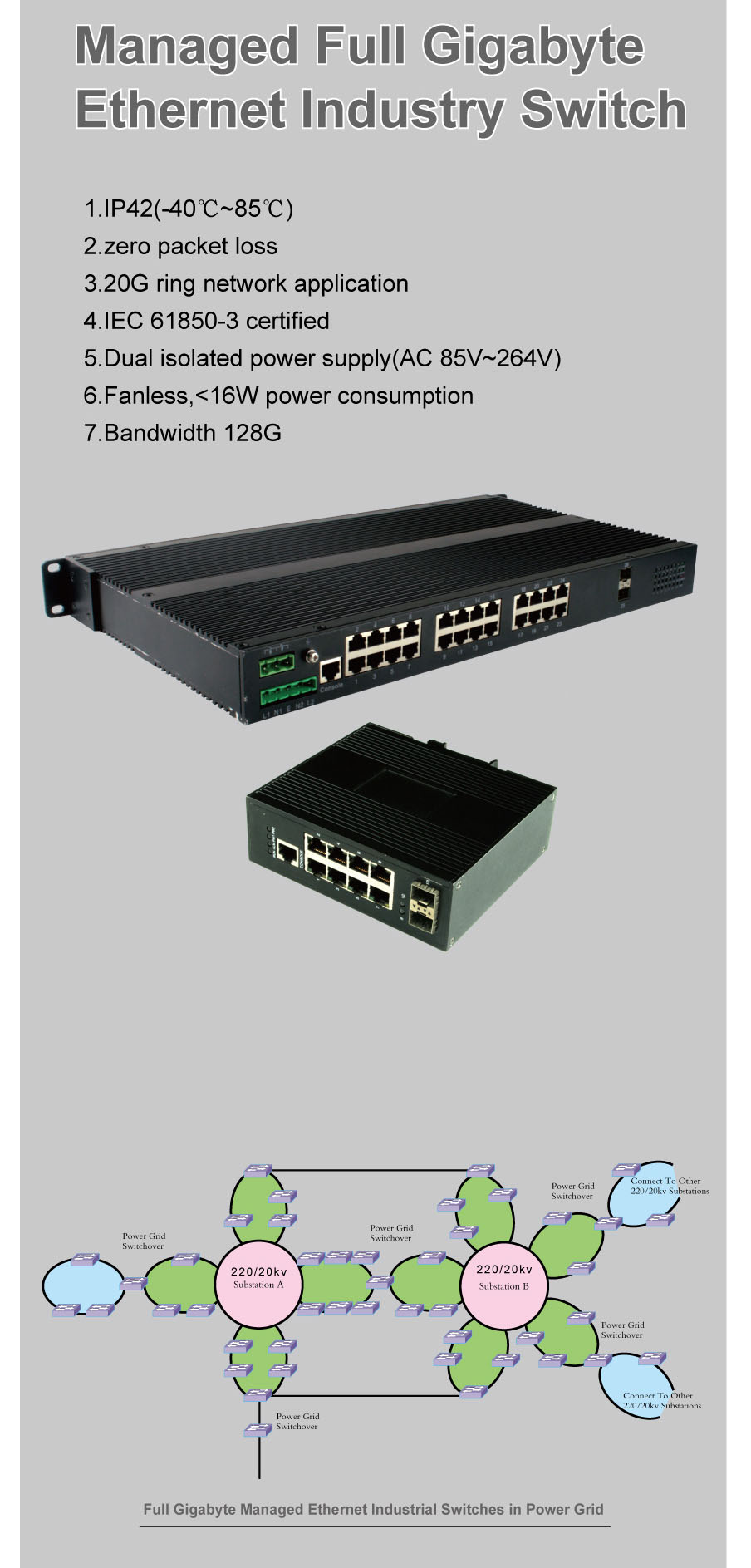 Managed Full Gigabyte Ethernet Industrial Switch
