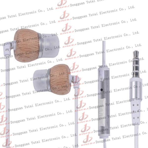 Hottest and fashion in-ear wooden earphone for iPod
