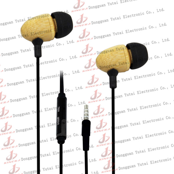 Hottest and fashion in-ear wooden earphone for iPod with mic