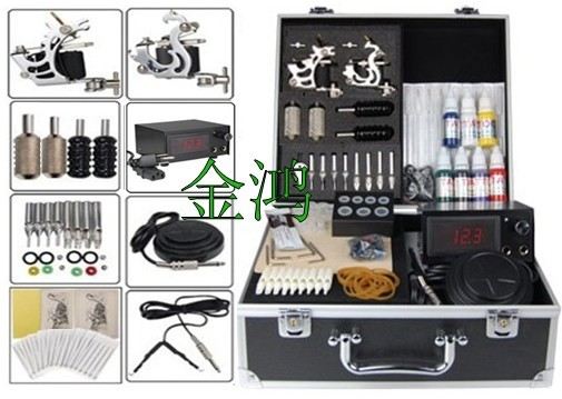 Tattoo Kit 2 Gun 10 Wrap Coil LCD Power Supply 7Color Ink