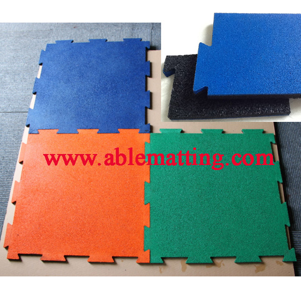 Gym and Playground Matting, Recycled Interlocking Rubber Tile