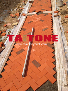 Red Clay brick paver for road
