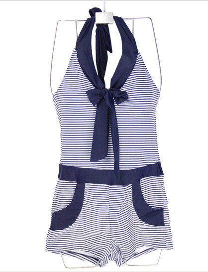 One Piece Stripe Printed Halter Swimwear