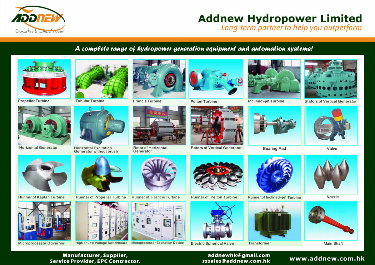 All kinds of Hydro Turbines and Generators