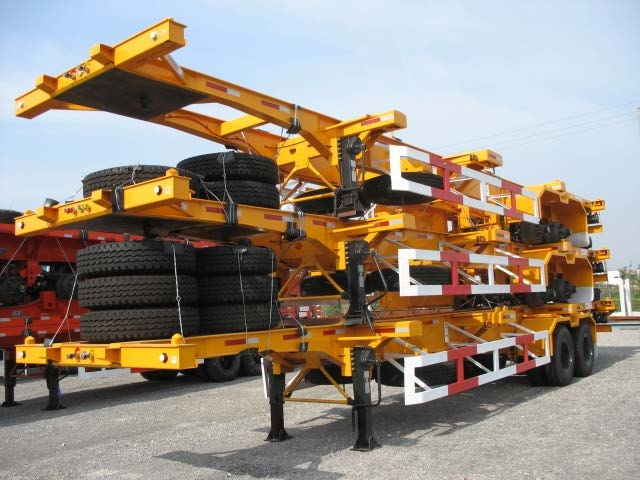 Reasonable price skeleton type/flatbed type container semitrailer for sale