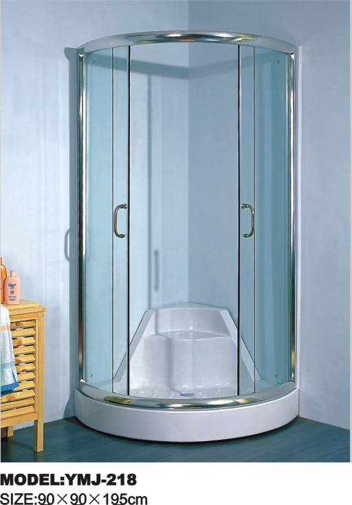 YMJ-218 tempered glass shower enclosure with seat