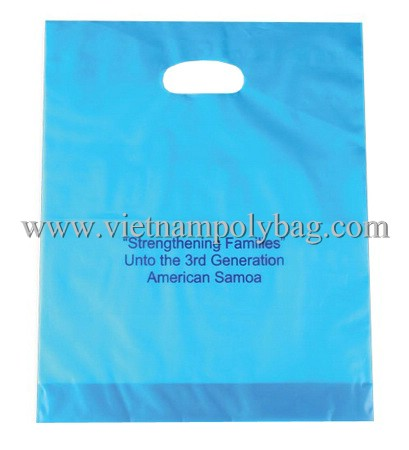 Promotional fashionable plastic packaging die cut handle bag, punch out handle bag, kidney handle bag