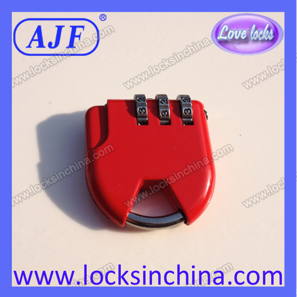 AJF Resettable Red Color Combination Case Lock