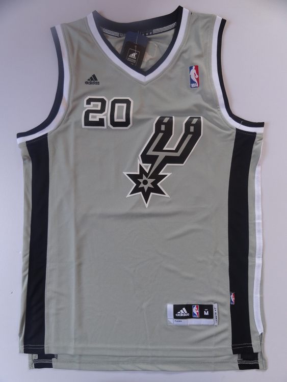 NBA San Antonio Spurs 20 Manu Ginobili Authentic Alternate Grey Jersey