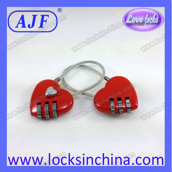 Cheap red heart promotional number lock for wedding and valentine's day