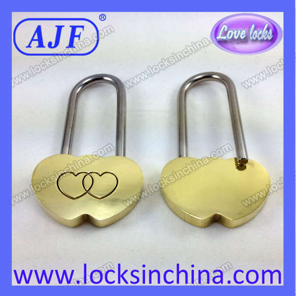 AJF 50MM Double Heart Love Padlock for Valentine\'s Day gift