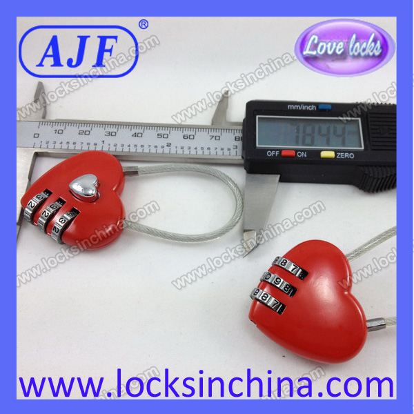 red heart promotional 3 dial combination lock for wedding and valentine's day